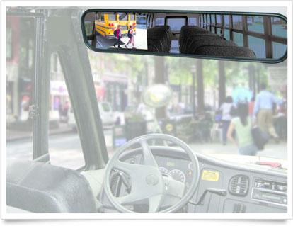 School Bus Interior Driver's steering.